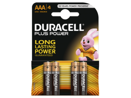 DURACELL PLUS POWER ALKALINE AAA BATTERIES 4 kosi