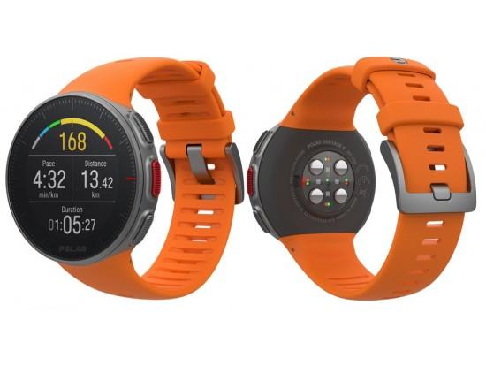 Polar VANTAGE V oranžna z merilnikom srčnega utripa na zapestju in merilnikom moči teka