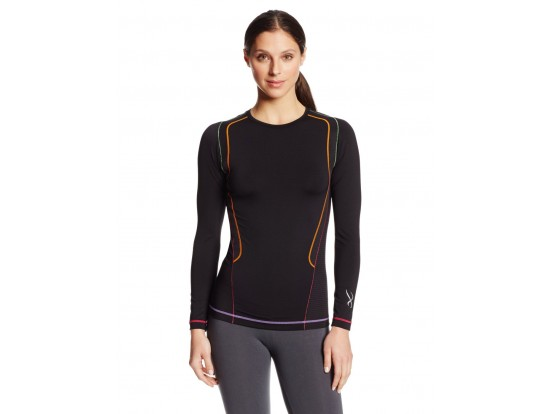 CW-X Kompresijska majica Ventilator Web - dolga črno mavrična