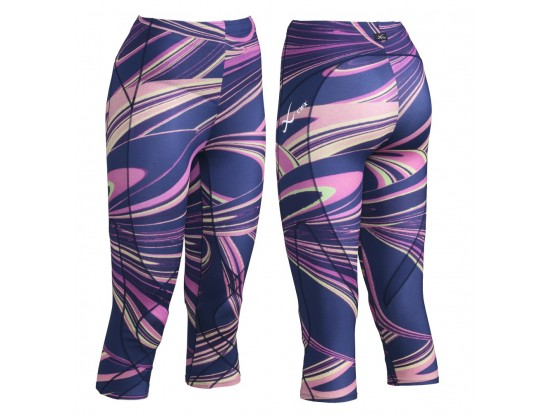CW-X Kompresijske hlače StabilyX - 3/4 - Purple Lava Print Odprodaja -60%