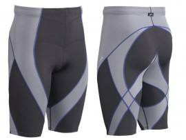 CW-X kompresijske tekaške hlače Endurance Pro Shorts Grey-Light Grey-Blue