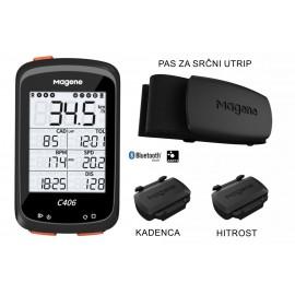 Magene C406 GPS  BUNDLE PAKET S SENZORJEM KADNECA, HITROST, PAS ZA SRČNI UTRIP kolesarski računalnik + podaljšan nosilec + silikonski ovoj